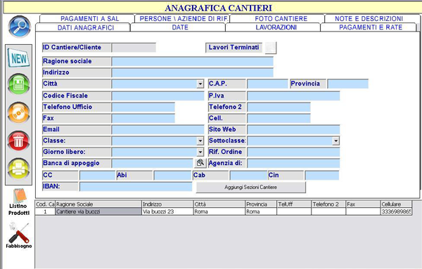 anagrafica cantieri