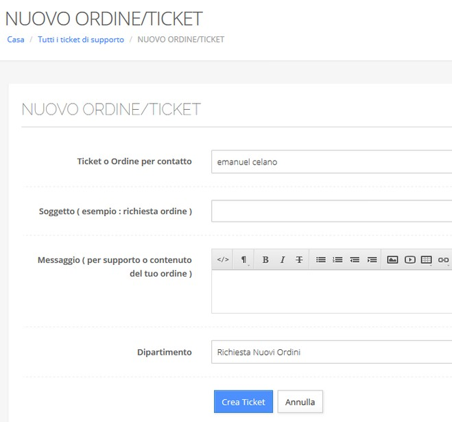 nuovo ordine ticket